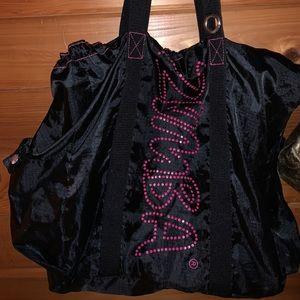 Zumba Tote Black Pink Drawstring